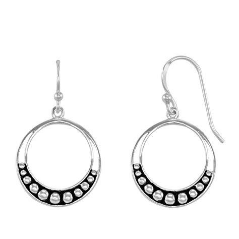 Sterling Silver Hoop Drop Earrings sterling silver beaded drop hoop earrings