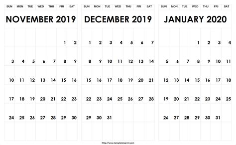 printable calendar november december january 3 month calendar archives 187 template to print