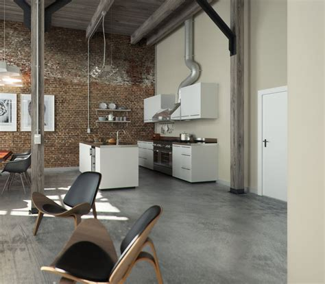 concrete floor apartment perserverence design cool palette open plan kitchen