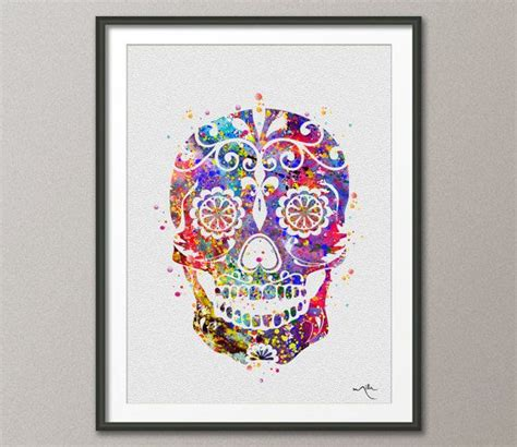 sugar skulls home decor sugar skull day of the dead watercolor art print geekery