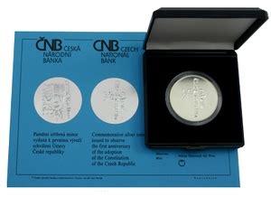 stříbrná mince 200 kč schválení Ústavy České republiky 1