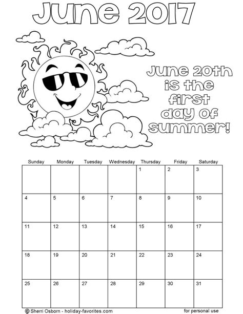 printable calendar coloring pages 2017 printable june 2017 calendars holiday favorites