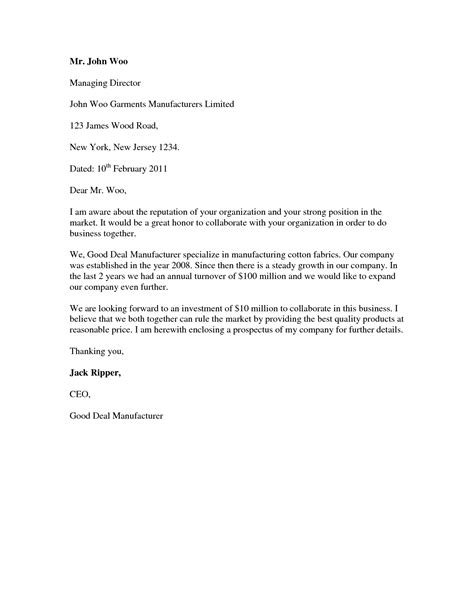 Cover Letter Business Format by Cover Letter Standard Format Best Template Collection