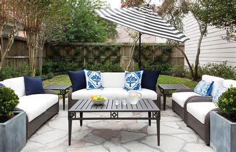 Blue striped outdoor chair cushion