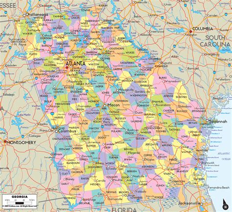 map of georgia cities cities in georgia usa detailed political map of georgia ezilon maps