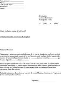 Résiliation Bail Lettre Recommandée Lettre De R 233 Siliation Actualit 233 S Informations Pratiques