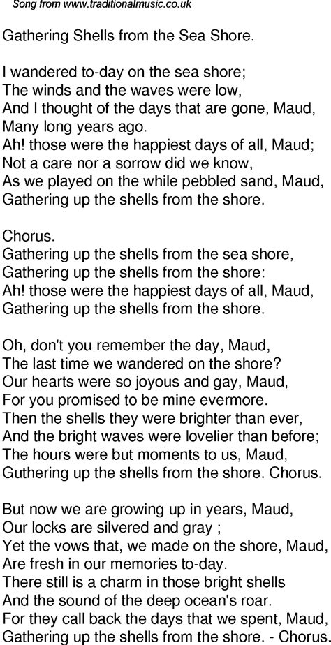 Old Time Song Lyrics for 47 Gathering Shells From The Sea