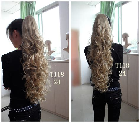Hairclip Ponytail Curly hair extension curly ponytail weft hair extensions
