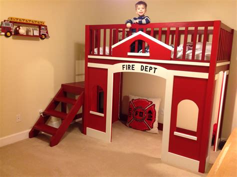 Child S Fire Station Loft Bed Do It Yourself Home Fireman Bunk Bed