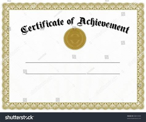 Vector Certificate Template Gold Seal Easy Stock Vector 58815595 Shutterstock Editable Certificate Of Achievement Template