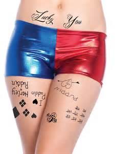 Harley quinn temporary tattoos face waist amp leg tats by sprdit