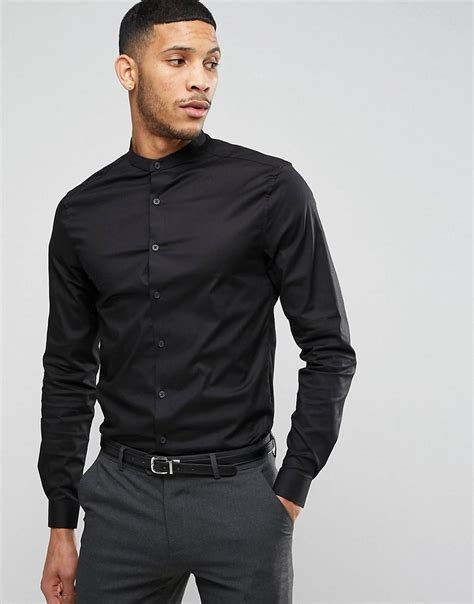 Black Dress Shirt Button Collar by Lyst Asos Shirt In Black With Grandad Collar And