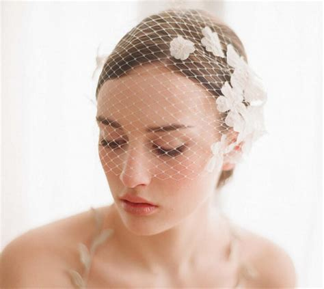 Vintage Wedding Hair With Birdcage Veil by Vintage Wedding Bridal White Birdcage Veil Net Flower