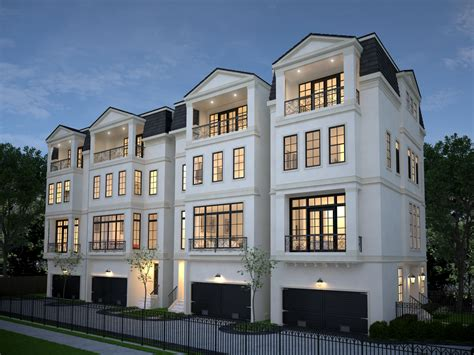 four 4 story townhomes in houston by preston wood assoc french style townhomes pinterest
