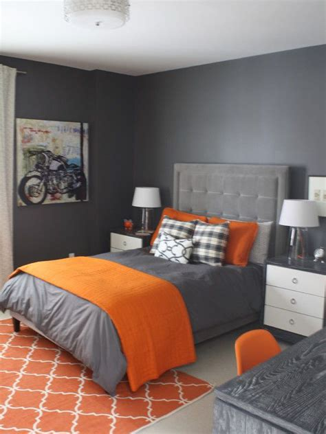 Grey And Orange Bedroom Decor imposing bedroom in grey painting and furnishing