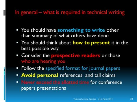 how to write technical papers how to write papers a note on technical writing