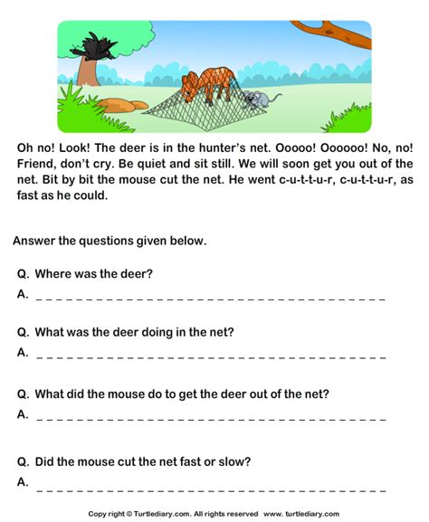 reading comprehension deer and worksheet turtle diary