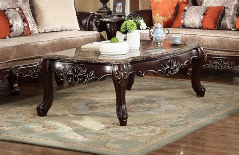 autumn victorian marble top coffee table  carved dark