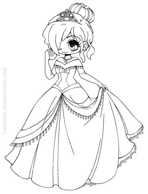 chibi cinderella coloring page amyel chibi commission by yampuff on deviantart