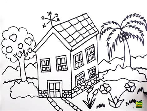 tutorial menggambar pemandangan pegunungan cara menggambar vila sederhana untuk anak sd sekolah