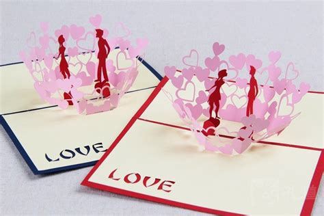 3d Origami Card - 3d valentines day cards paper fold greeting laser card