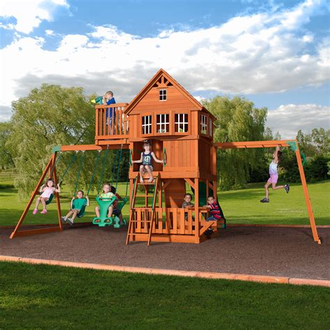 backyard swing set backyard discovery skyfort all cedar swing set reviews