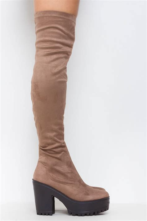 stretch it out knee high faux suede boots mocha lasula