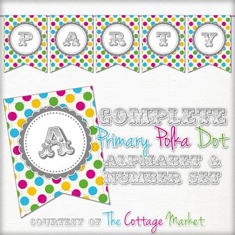 printable bunting letters free free printable whole alphabet primary party polka dot