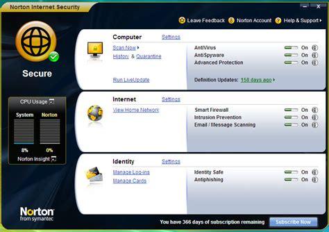 Norton Control Panel | neowin review symantec norton internet security 2009 neowin
