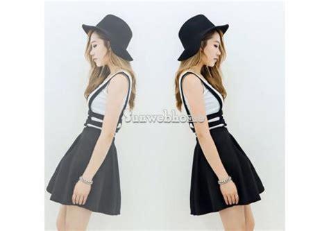 Mini Dress Sleeve Black Import Korea 100 White Real Pict 1 mini skater suspender skirt straps hollow