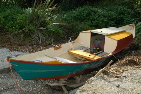 dory flat bottom boat dory style wooden boat stock image image of shallow