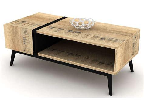 Table basse rectangulaire ETHNICA coloris gris/noir, pieds