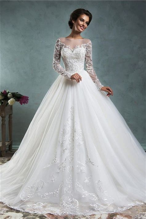 fairy ball gown illusion neckline long sleeve tulle lace