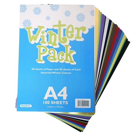 Card Paper Packs - a4 winter card paper pack 100 sheets card paper