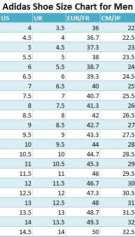adidas shoe size chart  men  guide   perfect