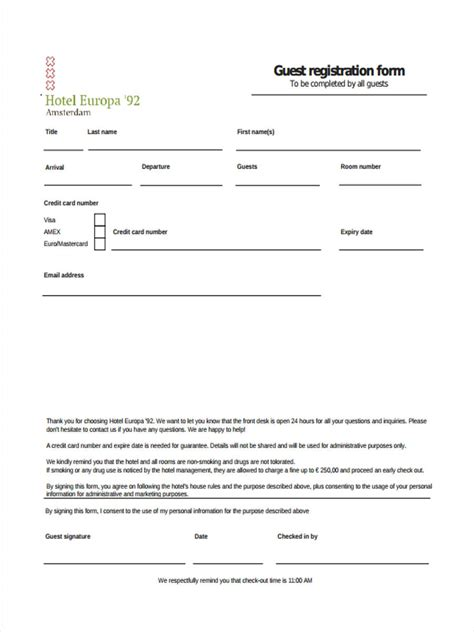 guest registration card template 21 hotel registration form templates