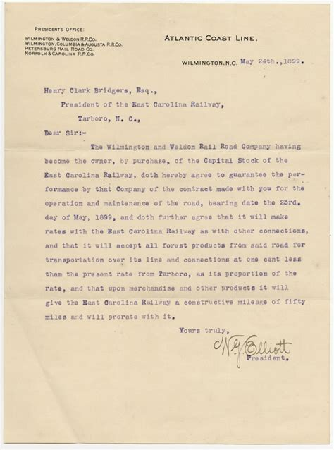 Agreement Letter Between Company And Customer Letter From W G Elliott To Henry Clark Bridgers
