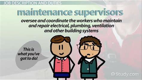 maintenance supervisor job description duties  requirements