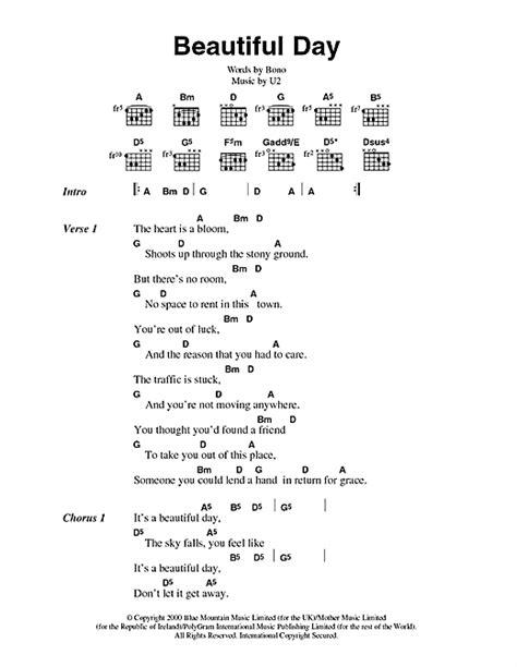 s day song h e a r t beautiful day sheet by u2 lyrics chords 44602