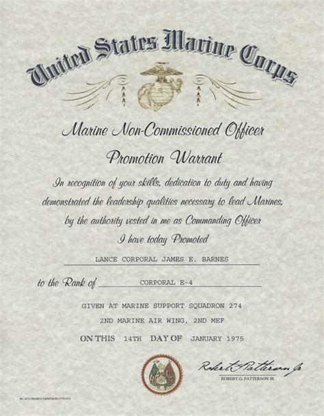 officer promotion certificate frame united states marine corps nco promotion warrant