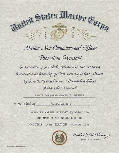 Usmc Promotion Letter United States Marine Corps Nco Promotion Warrant