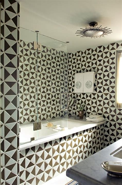 designer tiles triangle shaped tile created this great geometric bathroom
