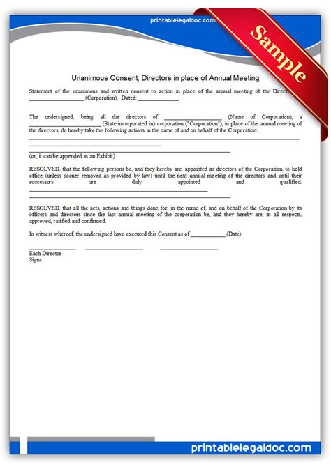what does consent really books free printable unanimous consent directors annual meeting