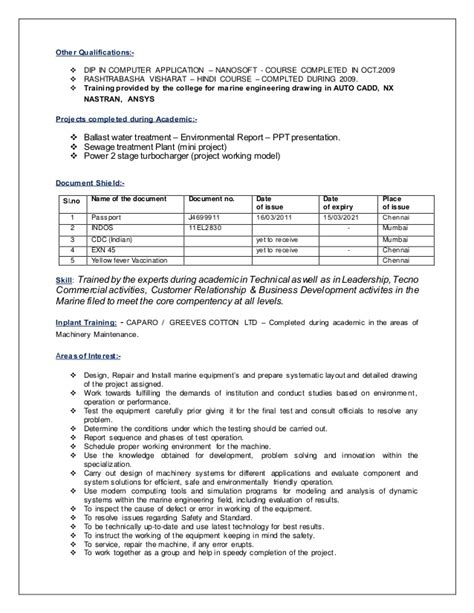 marine chief engineer resume sle marine engineer resume