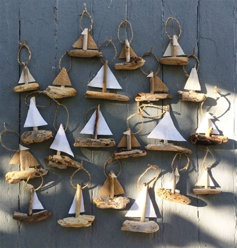 hanging sailboat mini s driftwood christmas ornament