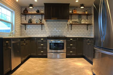 charcoal gray kitchen cabinets travertine subway tile backsplash design decor photos
