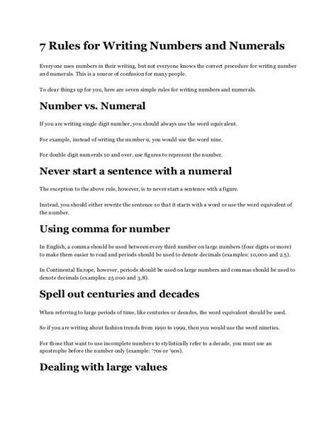 Writing Numbers In An Essay by 7 For Writing Numbers And Numerals Letterwritingtemplate