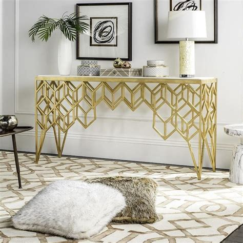 gold and marble console table gold legs white marble top console table