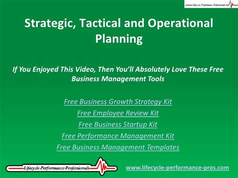 video strategic tactical and operational planning