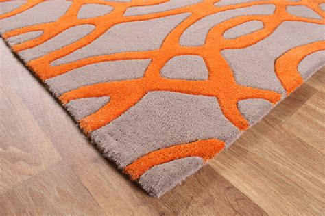 Matrix Wire Orange Grey Thick Wool Rug Max37 Orange Rugs